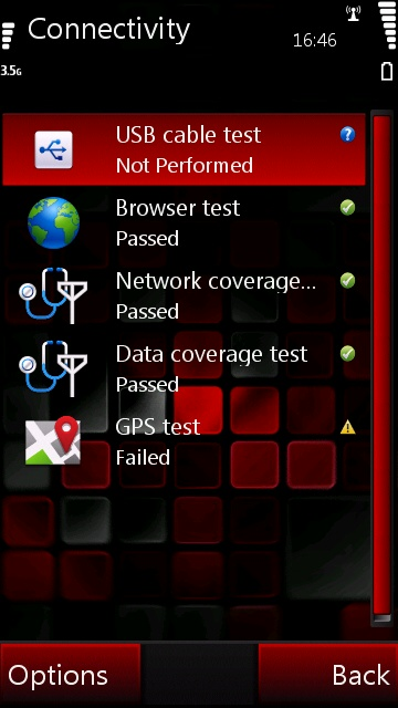 3.Connectivity Tests Screen